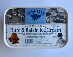 BENNETTS RUM & RAISIN ICE CREAM