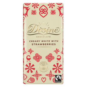 DIVINE FAIRTRADE STRAWBERRY WHITE CHOCOLATE