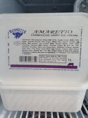 BENNETTS AMARETTO ICE CREAM
